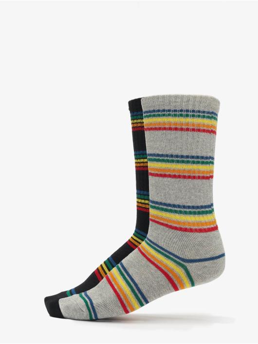 Urban Classics Chaussettes Rainbow Stripes Socks 2-Pack noir
