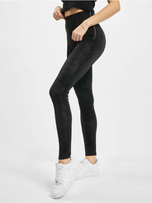 Urban Classics Chino pants Ladies Washed Faux Leather black