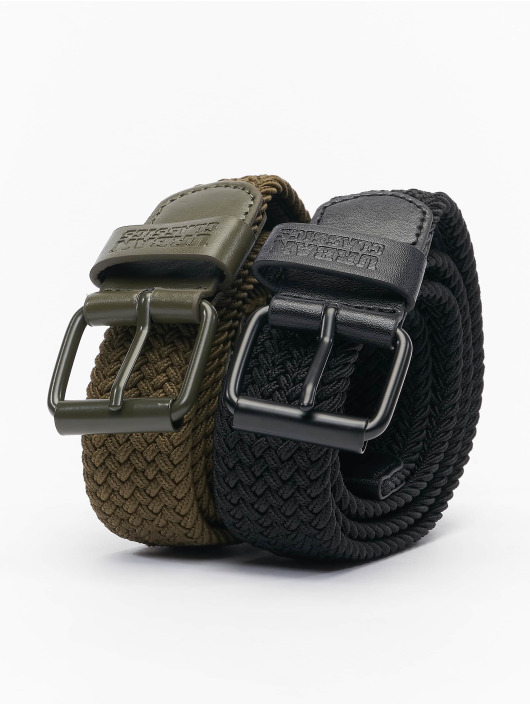 Urban Classics Cintura Elastic 2-Pack nero