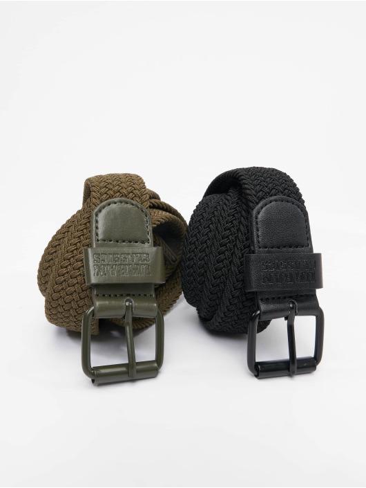 Urban Classics Cinturón Elastic 2-Pack negro