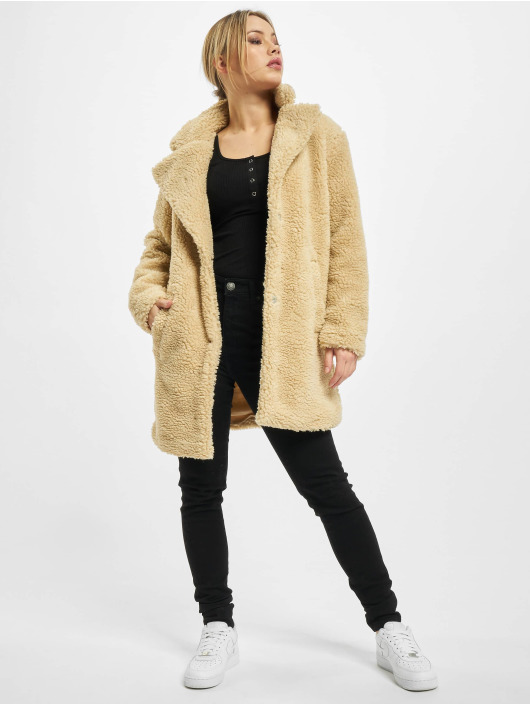 Urban Classics Coats Ladies Oversized Sherpa beige