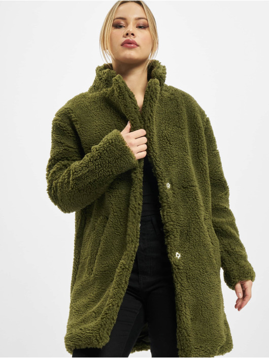Urban Classics Coats Ladies Oversized Sherpa olive