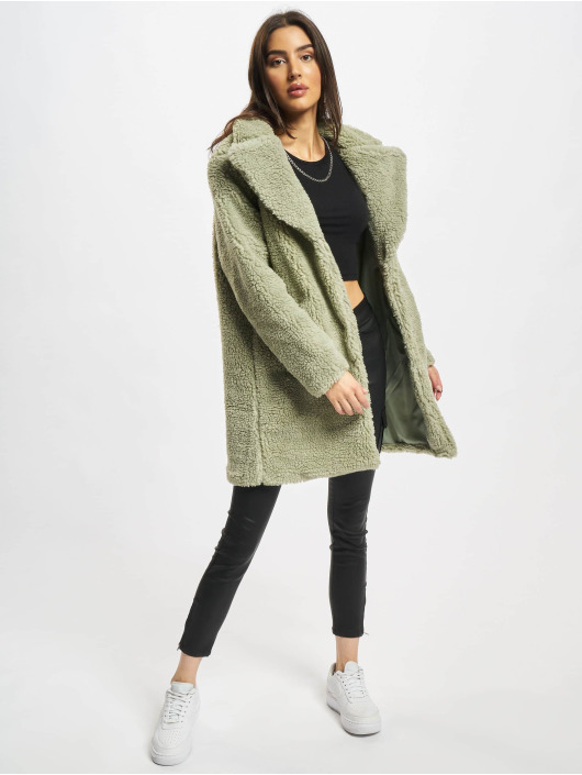 Urban Classics Coats Ladies Oversized Sherpa olive