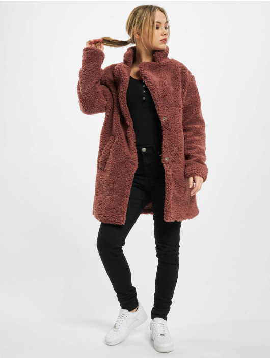 Urban Classics Coats Ladies Oversized Sherpa red