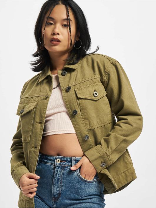 Urban Classics Džínová bunda Ladies Oversized Shirt hnědožlutý