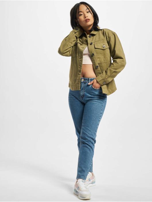 Urban Classics Denim Jacket Ladies Oversized Shirt khaki