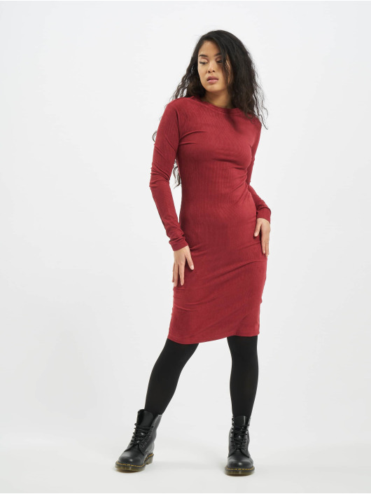 Urban Classics Dress Ladies Peached Rib LS red
