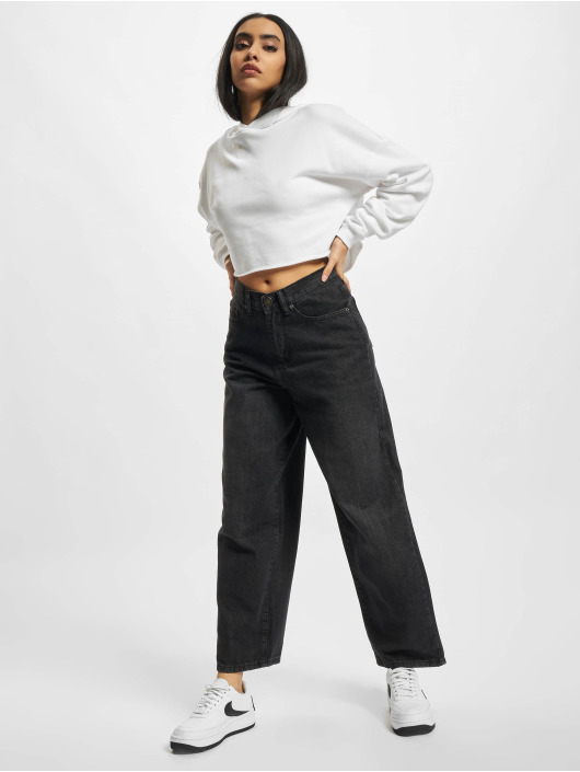 Urban Classics Dżinsy straight fit Ladies High Waist Wide Leg Cropped czarny