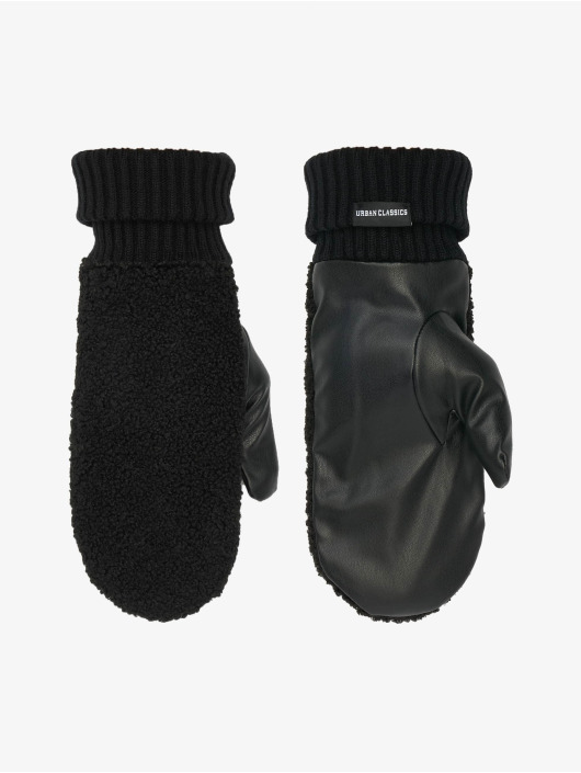 Urban Classics Gants Sherpa Imitation Leather noir