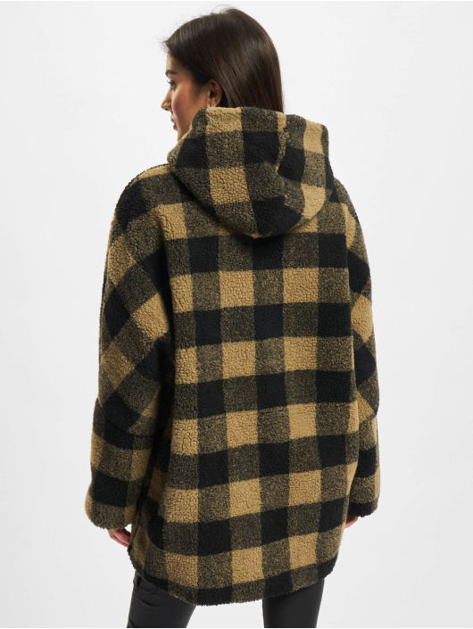 Urban Classics Giacca invernale Ladies Hooded Oversized Check marrone