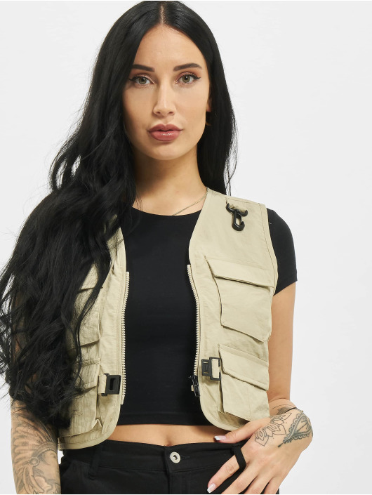 Urban Classics Gilet Ladies Short Tactical beige