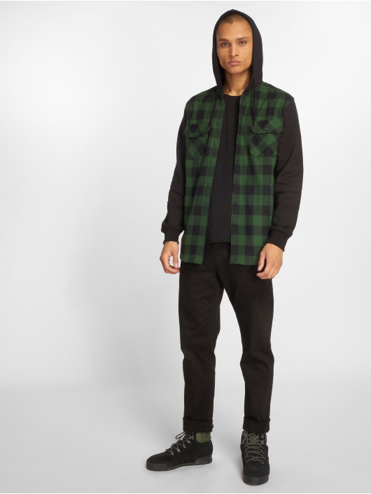 Urban Classics Hemd Hooded Checked Flanell schwarz