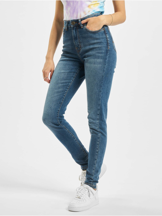 Urban Classics High Waist Jeans Ladies Skinny High Waist blau