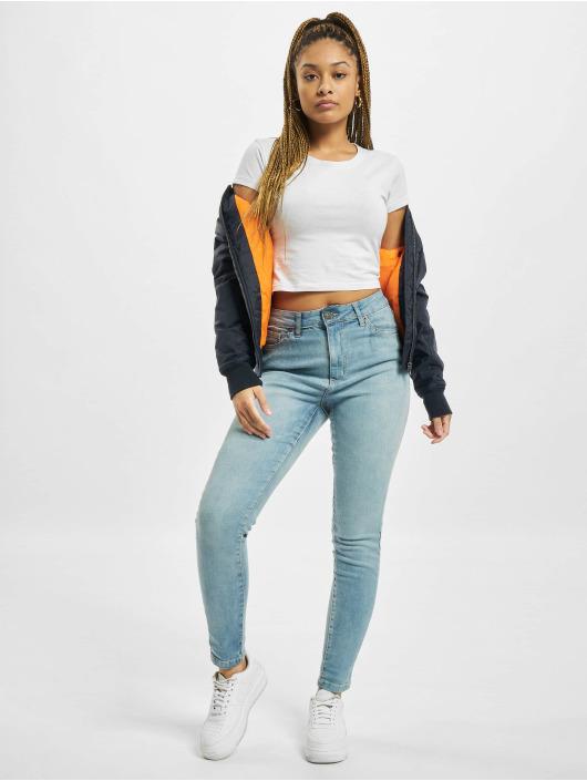 Urban Classics High Waisted Jeans Skinny High Waist modrá