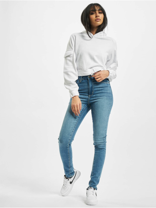 Urban Classics High Waisted Jeans Ladies High Waist modrý