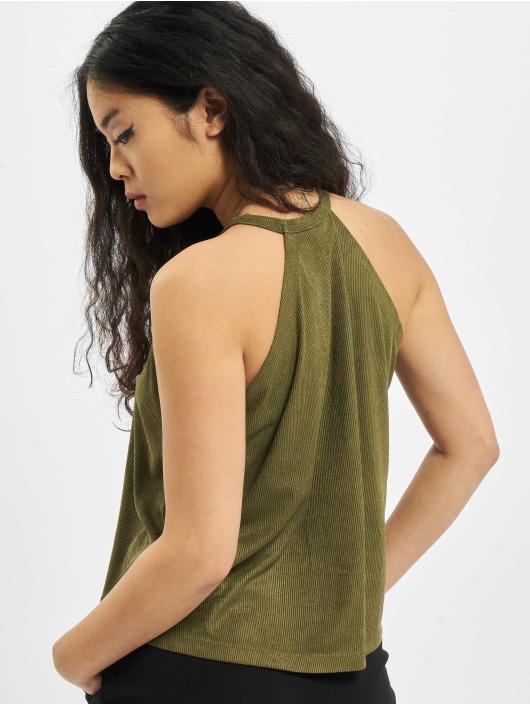 Urban Classics Hihattomat paidat Ladies Peached Rib Neckholder oliivi