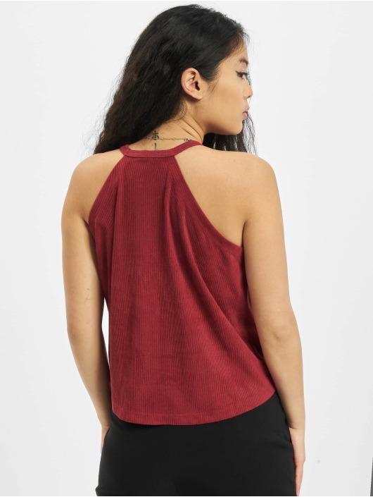 Urban Classics Hihattomat paidat Ladies Peached Rib Neckholder punainen