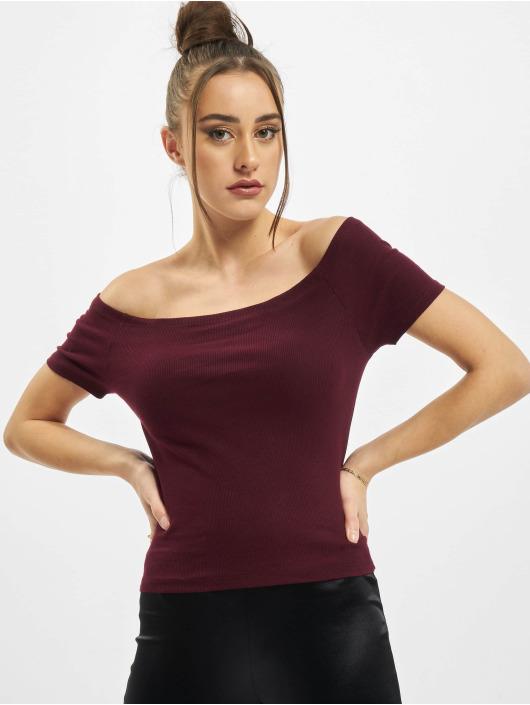 Urban Classics Hihattomat paidat Ladies Off Shoulder Rib punainen