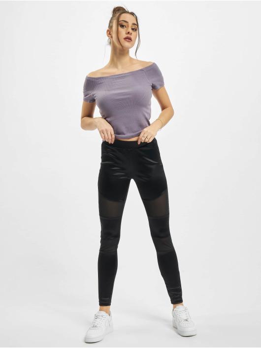 Urban Classics Hihattomat paidat Ladies Off Shoulder Rib purpuranpunainen