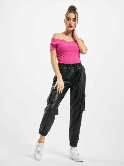 Urban Classics Hihattomat paidat Ladies Off Shoulder Rib vaaleanpunainen
