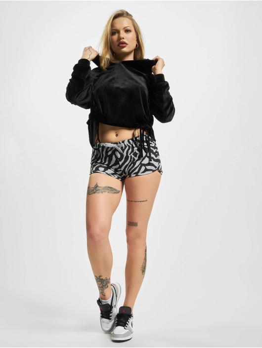 Urban Classics Hoodie Short Velvet Gathered black