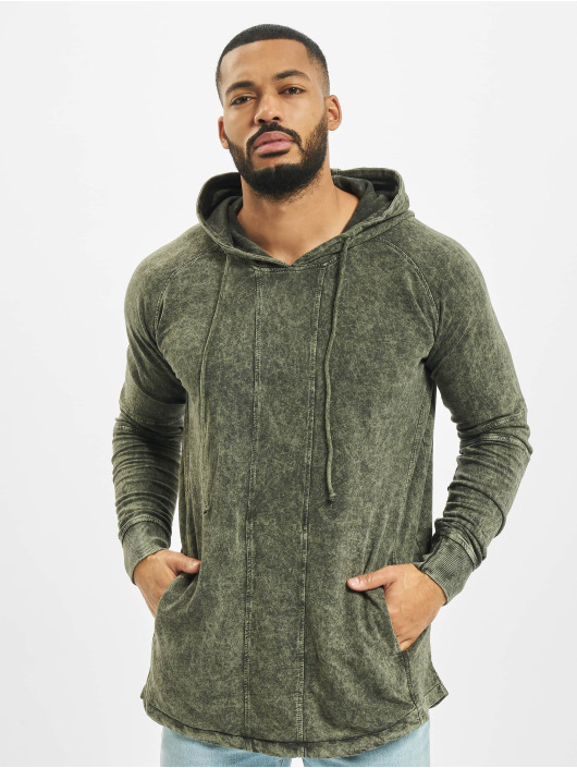 Urban Classics Hoodie Terry Acid Washed Long Shaped olive