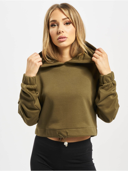 Urban Classics Hoodie Ladies Short Worker olive