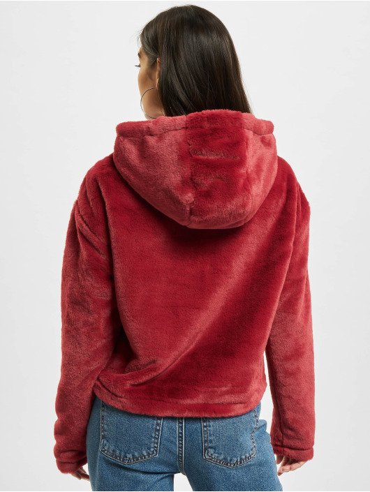 Urban Classics Hoodie Oversize Short Teddy red