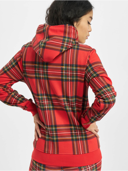 Urban Classics Hoodie Ladies AOP Tartan röd