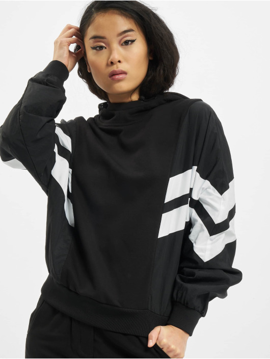 Urban Classics Hoodie Ladies Mix Crinkle Nylon svart