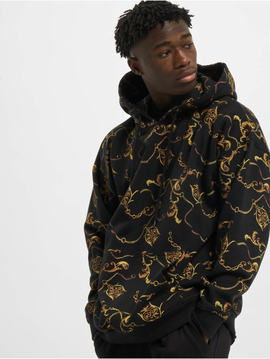 Urban Classics Hoodies AOP Luxury Print Oversized čern