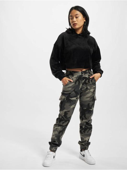 Urban Classics Hoodies Ladies Cropped Velvet čern