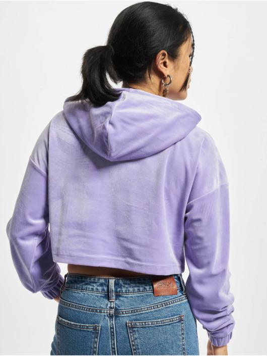 Urban Classics Hoodies Ladies Cropped Velvet fialový