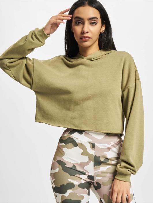 Urban Classics Hoodies Ladies Oversized Cropped hnědožlutý