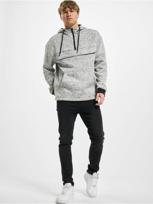 Urban Classics Hoody Knit Fleece Pull Over grau