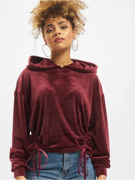 Urban Classics Hoody Short Velvet Gathered rot