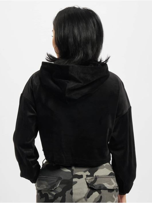 Urban Classics Hoody Ladies Cropped Velvet schwarz