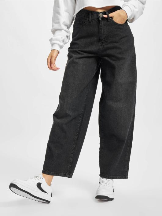 Urban Classics Jean coupe droite Ladies High Waist Wide Leg Cropped noir