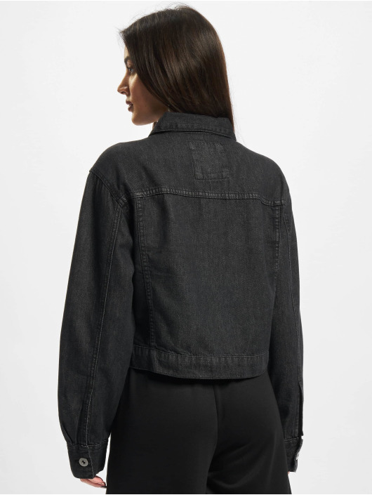 Urban Classics Jeansjacken Ladies Short Oversized schwarz