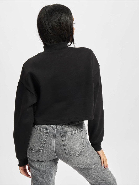 Urban Classics Jersey Ladies Cropped Oversized High Neck Crew negro