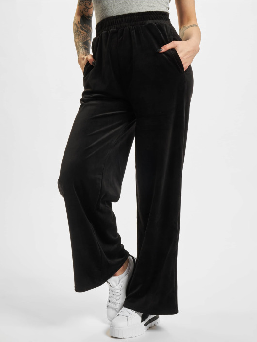 Urban Classics Joggebukser Ladies High Waist Straight Velvet svart