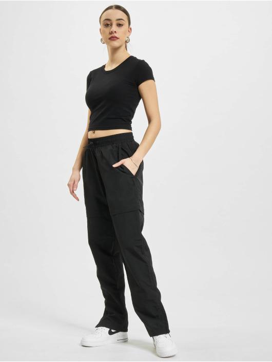 Urban Classics joggingbroek Shiny Crinkle Nylon Zip zwart