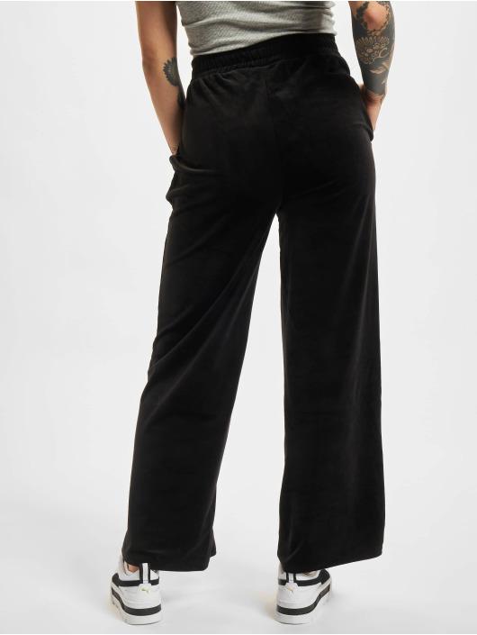 Urban Classics joggingbroek Ladies High Waist Straight Velvet zwart