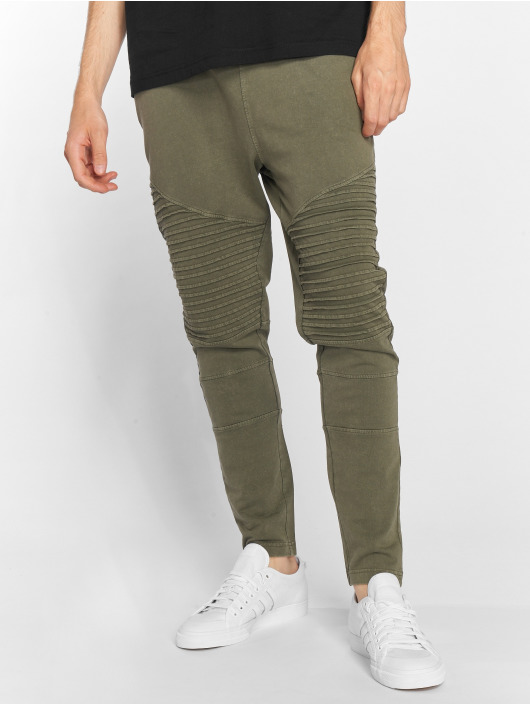 Urban Classics Jogginghose Acid Wash Terry Biker olive