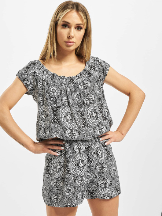 Urban Classics Jumpsuits Ladies All Over Print Off Shoulder czarny