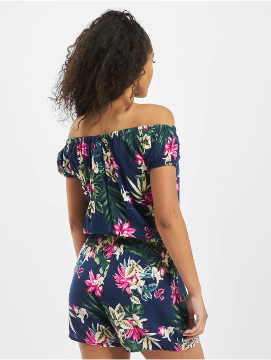 Urban Classics Jumpsuits Ladies All Over Print Off Shoulder Short niebieski
