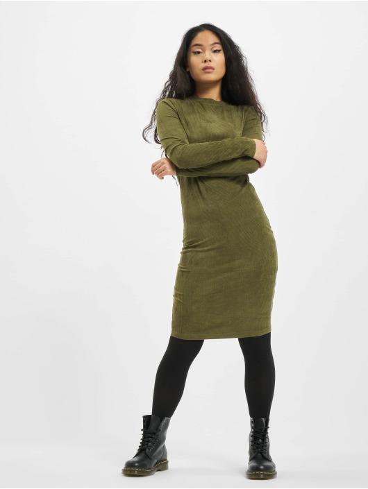 Urban Classics jurk Ladies Peached Rib LS olijfgroen