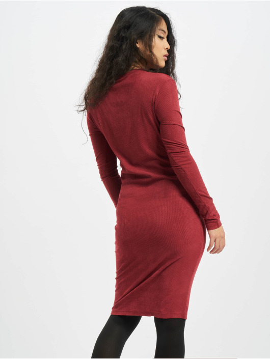 Urban Classics jurk Ladies Peached Rib LS rood