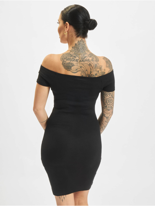 Urban Classics jurk Off Shoulder Rib zwart