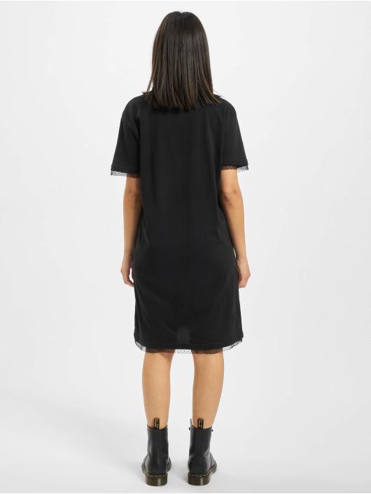 Urban Classics jurk Ladies Boxy Lace Hem zwart